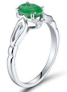 14K White Gold Natural Oval Emerald Ring