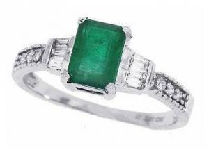 Emerald Cut Emerald and Diamond Ring